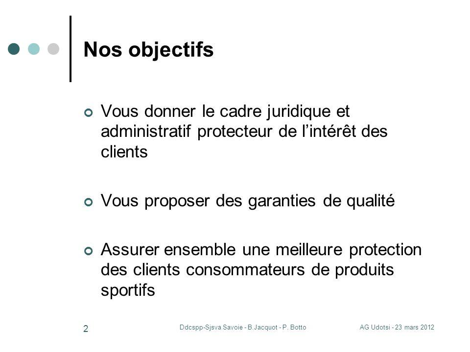 AG Udotsi - 23 mars 2012Ddcspp-Sjsva Savoie - B.Jacquot - P. Botto 2 Nos objectifs Vous donner le cadre juridique et administratif protecteur de linté