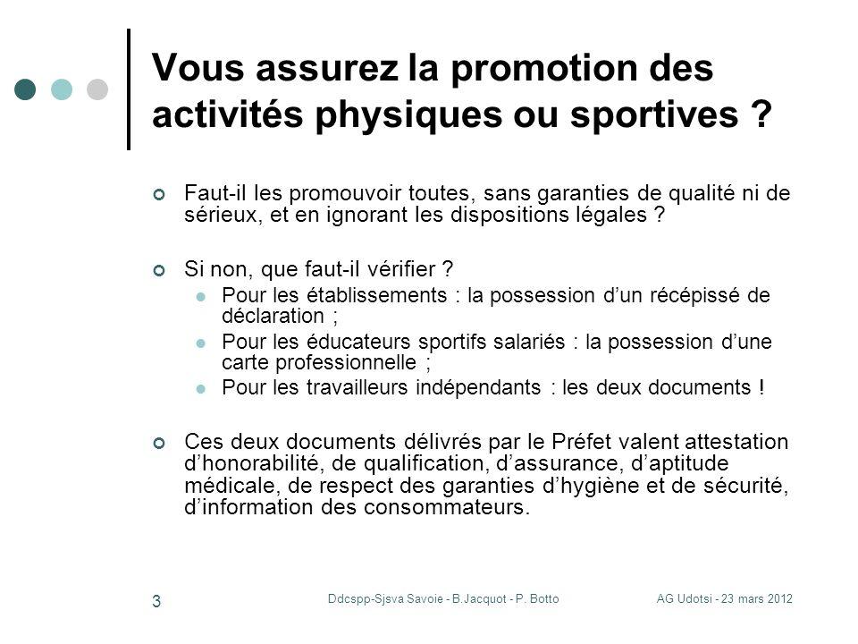 AG Udotsi - 23 mars 2012Ddcspp-Sjsva Savoie - B.Jacquot - P. Botto 3 Vous assurez la promotion des activités physiques ou sportives ? Faut-il les prom