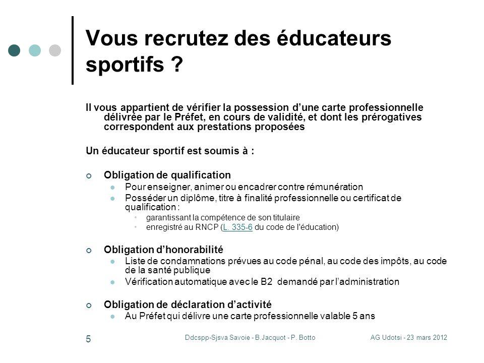 AG Udotsi - 23 mars 2012Ddcspp-Sjsva Savoie - B.Jacquot - P. Botto 5 Vous recrutez des éducateurs sportifs ? Il vous appartient de vérifier la possess