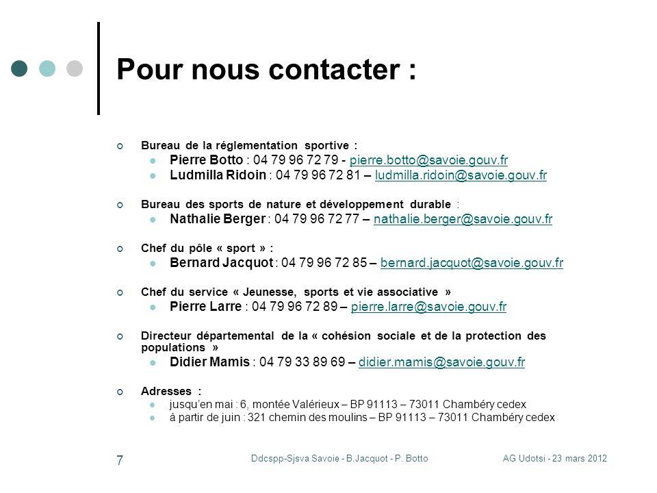 AG Udotsi - 23 mars 2012Ddcspp-Sjsva Savoie - B.Jacquot - P. Botto 7 Pour nous contacter : Bureau de la réglementation sportive : Pierre Botto : 04 79