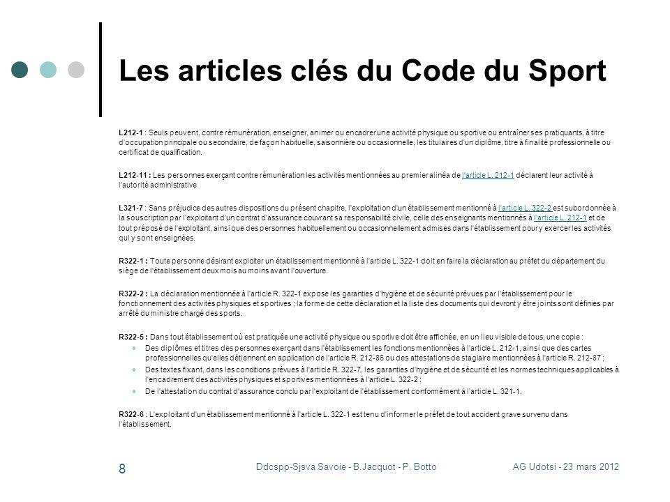 AG Udotsi - 23 mars 2012Ddcspp-Sjsva Savoie - B.Jacquot - P. Botto 8 Les articles clés du Code du Sport L212-1 : Seuls peuvent, contre rémunération, e