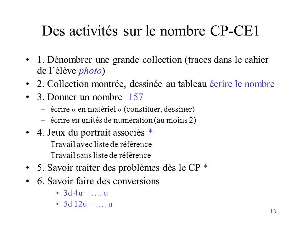 10 Des activités sur le nombre CP-CE1 1. Dénombrer une grande collection (traces dans le cahier de lélève photo) 2. Collection montrée, dessinée au ta