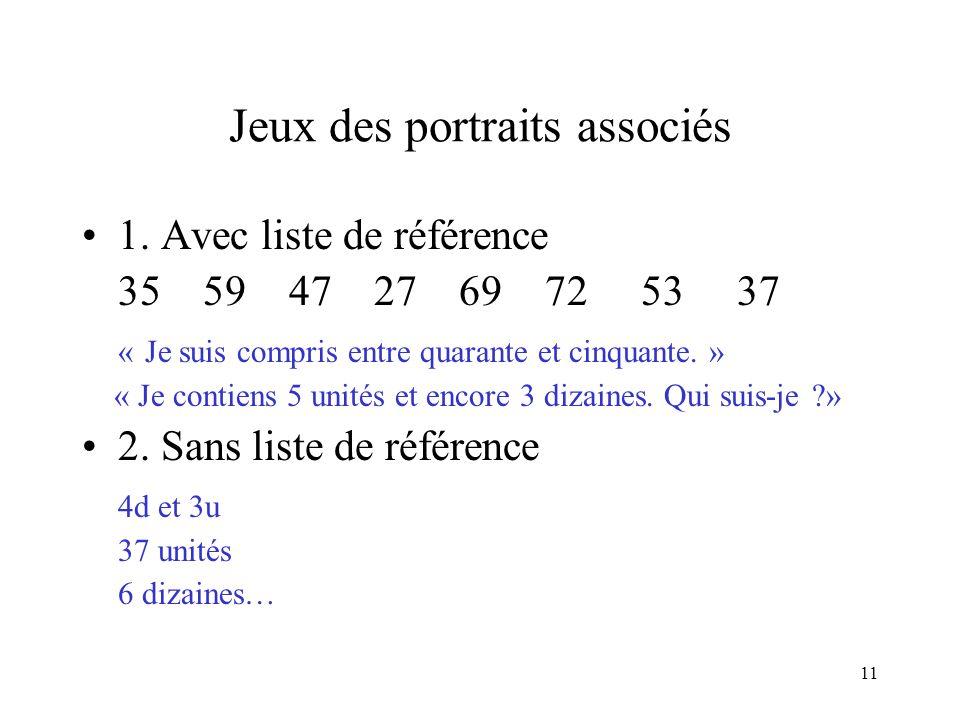 11 Jeux des portraits associés 1. Avec liste de référence 35 59 47 27 69 72 53 37 « Je suis compris entre quarante et cinquante. » « Je contiens 5 uni