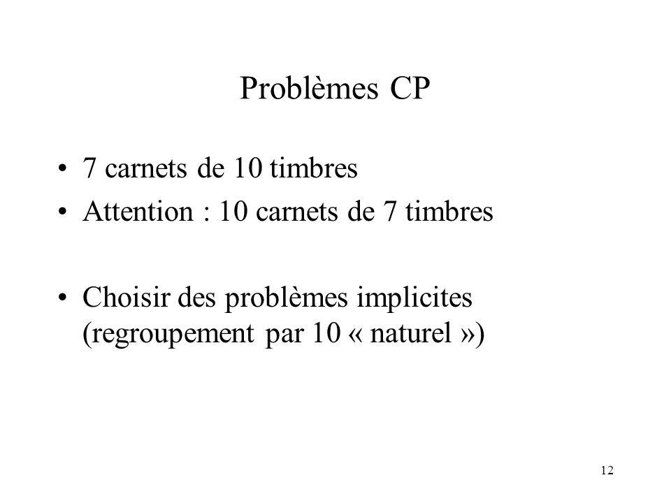12 Problèmes CP 7 carnets de 10 timbres Attention : 10 carnets de 7 timbres Choisir des problèmes implicites (regroupement par 10 « naturel »)