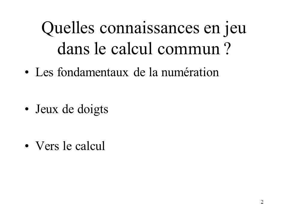 2 Quelles connaissances en jeu dans le calcul commun ? Les fondamentaux de la numération Jeux de doigts Vers le calcul