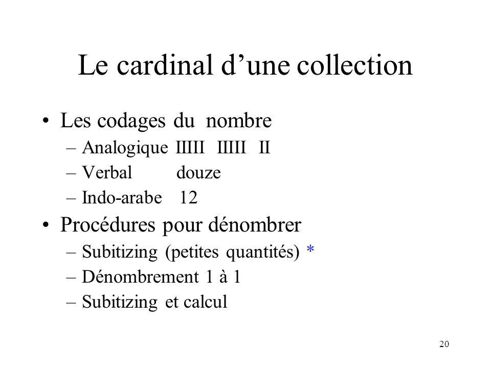 20 Le cardinal dune collection Les codages du nombre –Analogique IIIII IIIII II –Verbal douze –Indo-arabe 12 Procédures pour dénombrer –Subitizing (pe