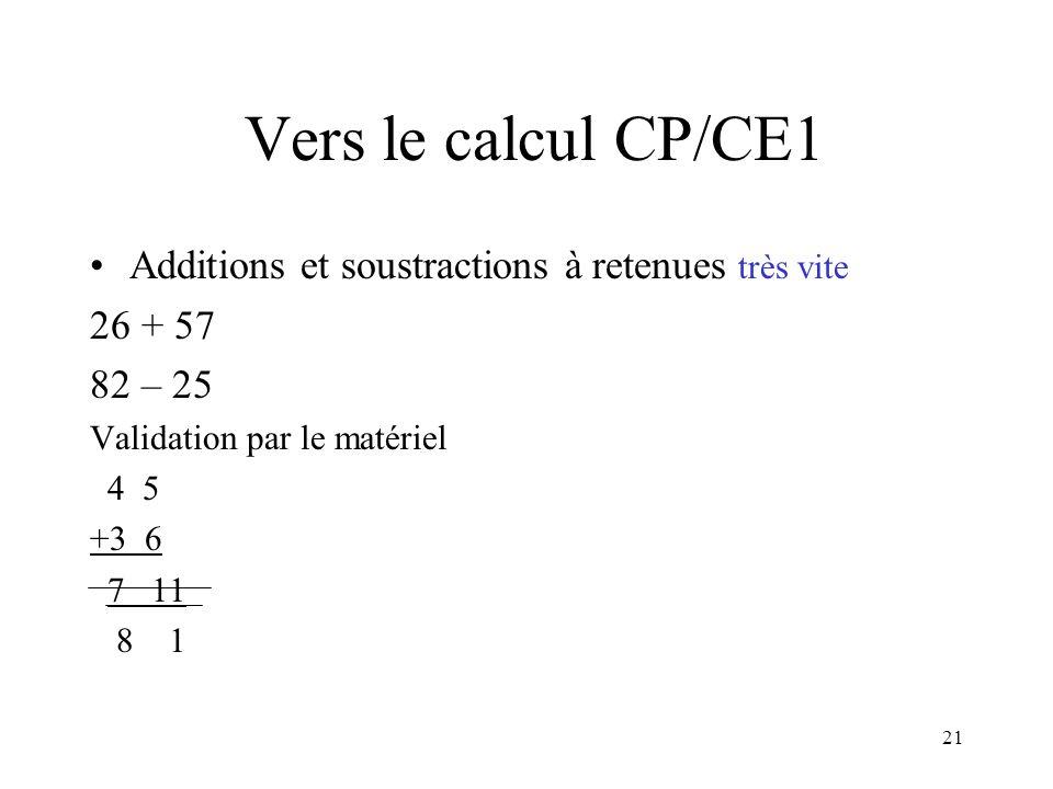 21 Vers le calcul CP/CE1 Additions et soustractions à retenues très vite 26 + 57 82 – 25 Validation par le matériel 4 5 +3 6 7 11 8 1