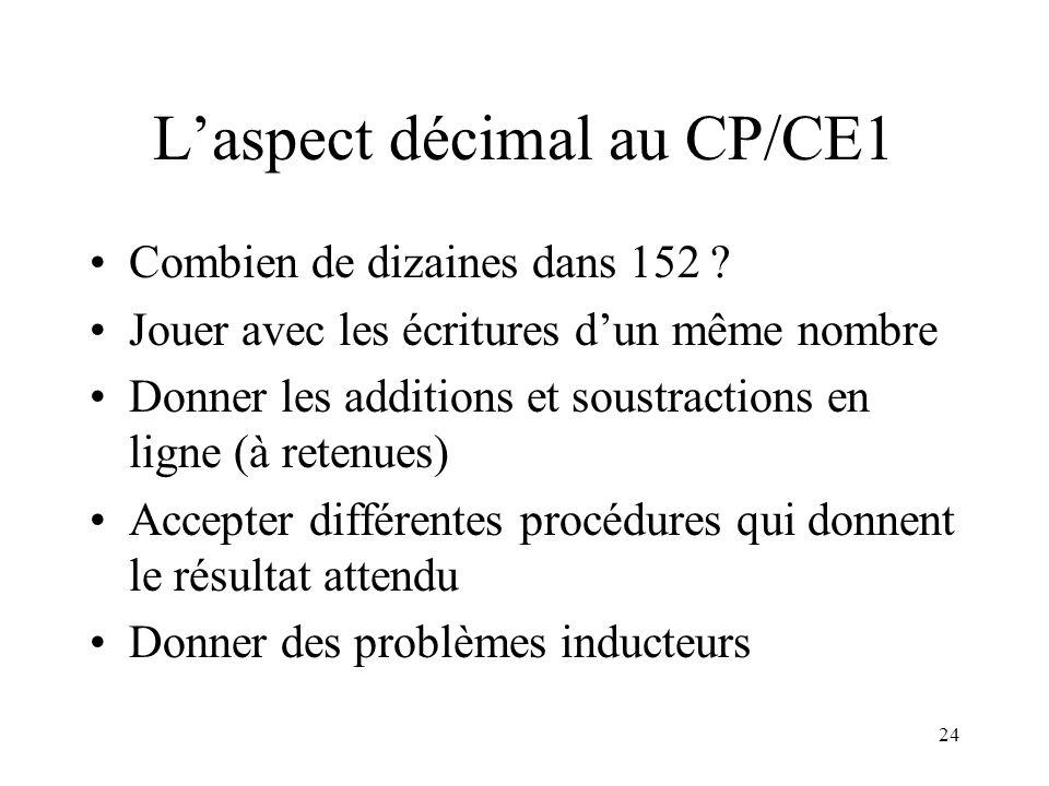 24 Laspect décimal au CP/CE1 Combien de dizaines dans 152 ? Jouer avec les écritures dun même nombre Donner les additions et soustractions en ligne (à