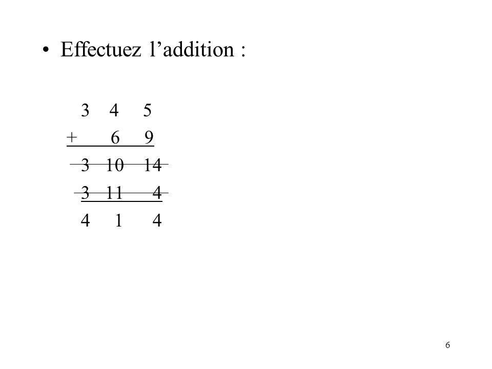 6 Effectuez laddition : 3 4 5 + 6 9 3 10 14 3 11 4 4 1 4