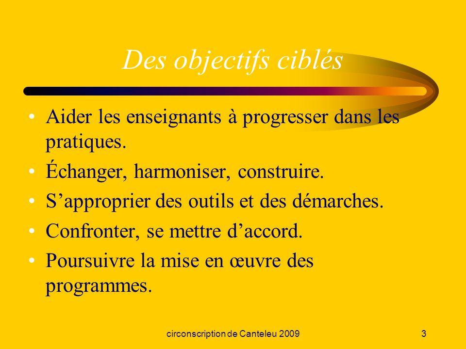 circonscription de Canteleu 20094 Une logique denseignement Les programmes Les compétences Des activités pour apprendre Des supports pour évaluer Contenus Objectifs cognitifs Objectifs méthodo.
