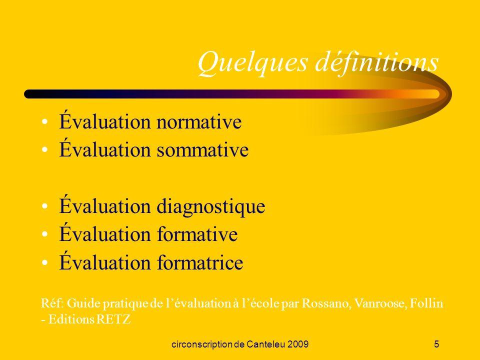 circonscription de Canteleu 20095 Quelques définitions Évaluation normative Évaluation sommative Évaluation diagnostique Évaluation formative Évaluati