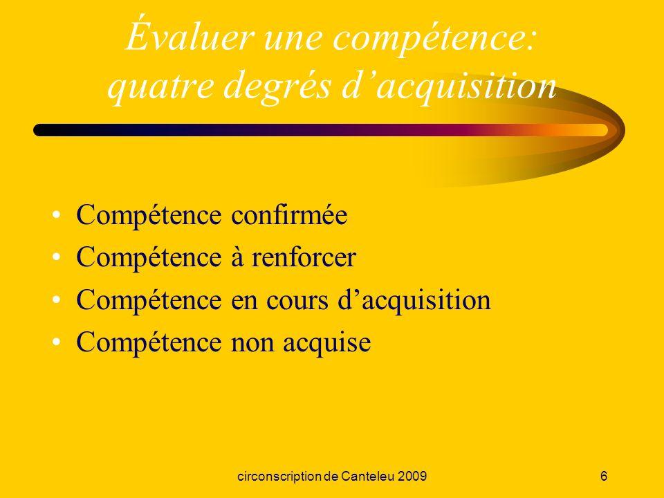 circonscription de Canteleu 20096 Évaluer une compétence: quatre degrés dacquisition Compétence confirmée Compétence à renforcer Compétence en cours d