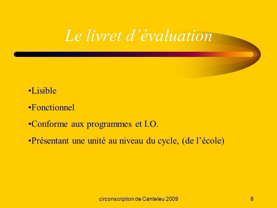 circonscription de Canteleu 20098 Le livret dévaluation Lisible Fonctionnel Conforme aux programmes et I.O. Présentant une unité au niveau du cycle, (