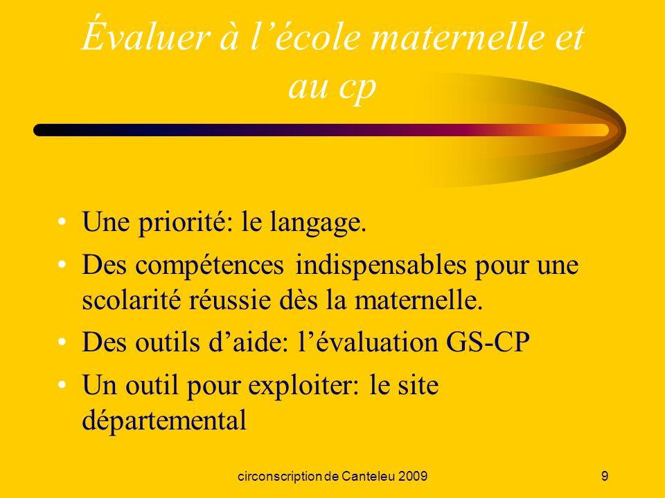 circonscription de Canteleu 20099 Évaluer à lécole maternelle et au cp Une priorité: le langage. Des compétences indispensables pour une scolarité réu
