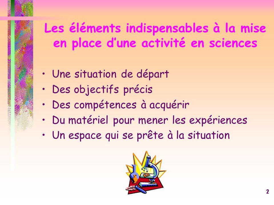 1 Les activités scientifiques à lécole primaire