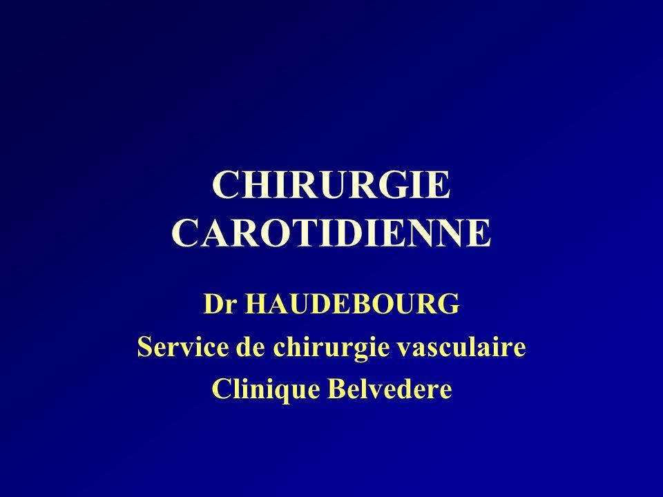 CHIRURGIE CAROTIDIENNE Dr HAUDEBOURG Service de chirurgie vasculaire Clinique Belvedere