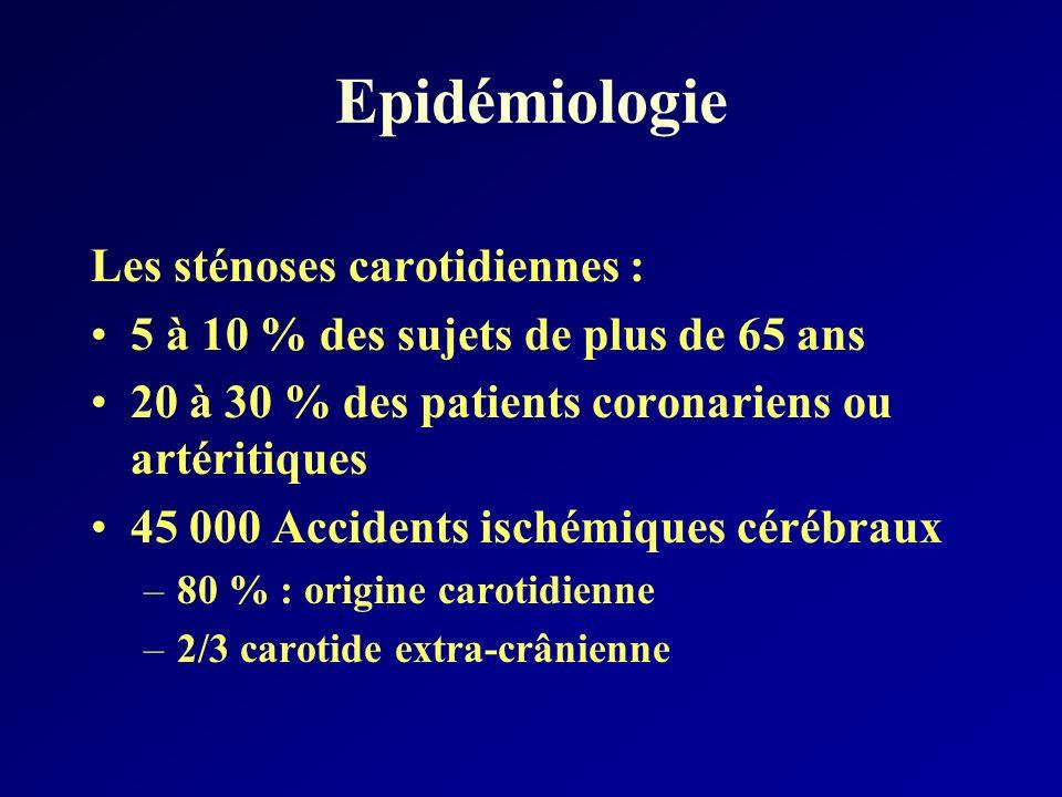 Epidémiologie Les sténoses carotidiennes : 5 à 10 % des sujets de plus de 65 ans 20 à 30 % des patients coronariens ou artéritiques 45 000 Accidents i