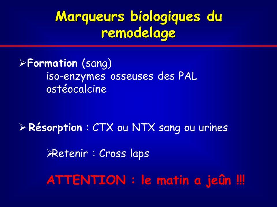 Marqueurs biologiques du remodelage Formation (sang) iso-enzymes osseuses des PAL ostéocalcine Résorption : CTX ou NTX sang ou urines Retenir : Cross laps ATTENTION : le matin a jeûn !!!