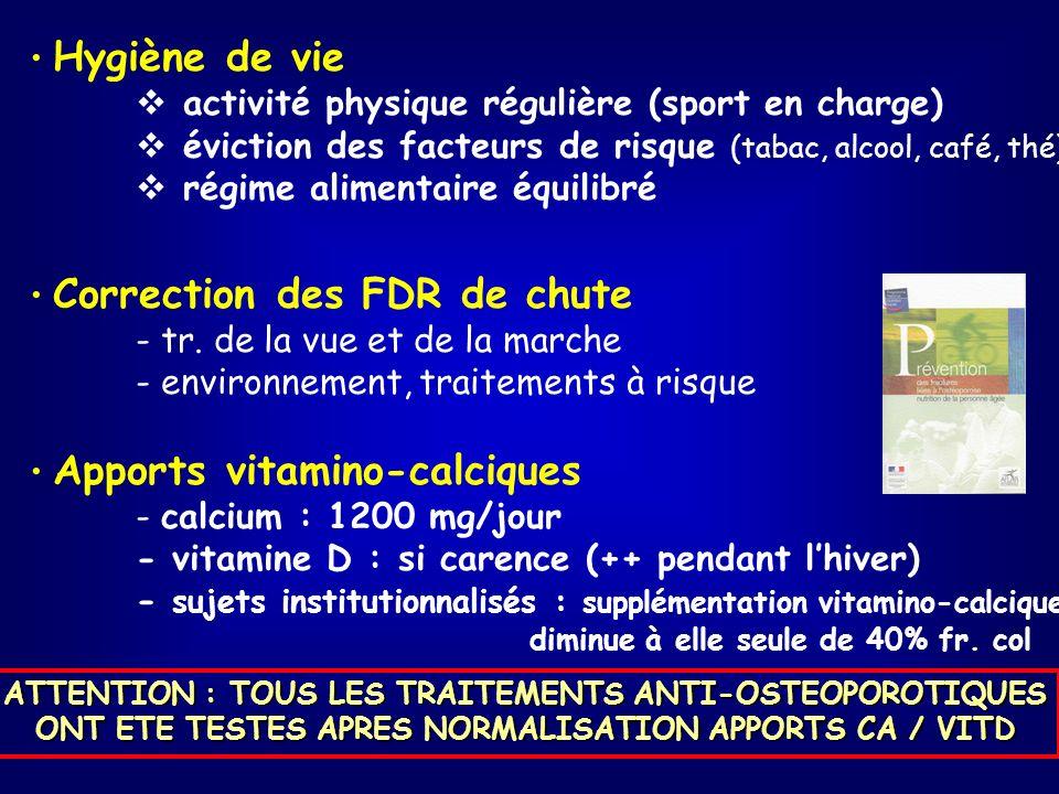 Hygiène de vie activité physique régulière (sport en charge) éviction des facteurs de risque (tabac, alcool, café, thé) régime alimentaire équilibré Correction des FDR de chute - tr.