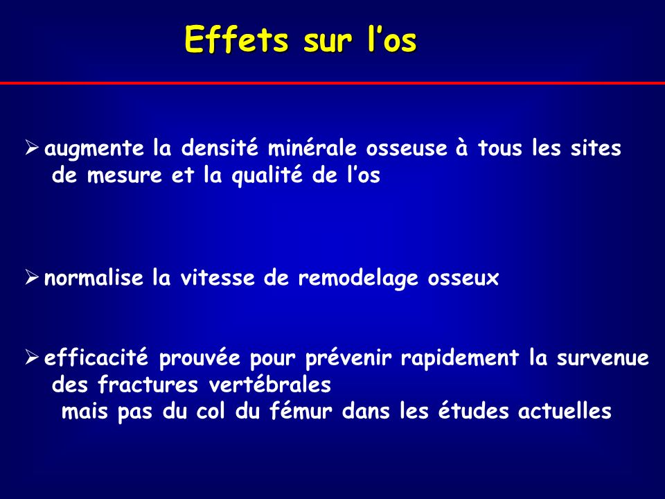 Effets sur los augmente la densité minérale osseuse à tous les sites de mesure et la qualité de los normalise la vitesse de remodelage osseux efficacité prouvée pour prévenir rapidement la survenue des fractures vertébrales mais pas du col du fémur dans les études actuelles