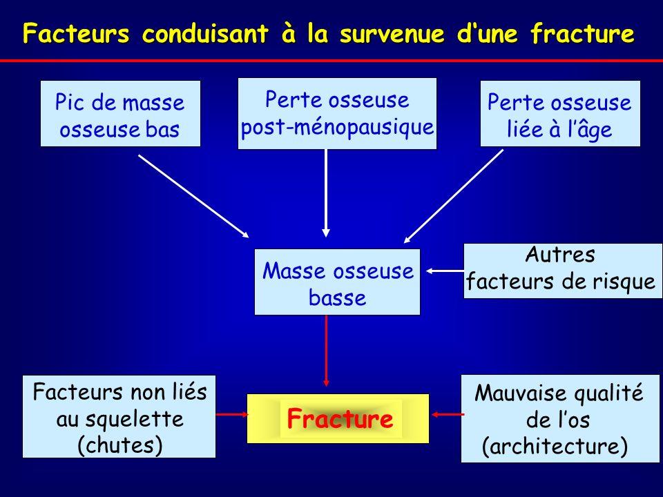Facteurs conduisant à la survenue dune fracture Perte osseuse post-ménopausique Fracture Facteurs non liés au squelette (chutes) Autres facteurs de risque Pic de masse osseuse bas Perte osseuse liée à lâge Masse osseuse basse Mauvaise qualité de los (architecture)