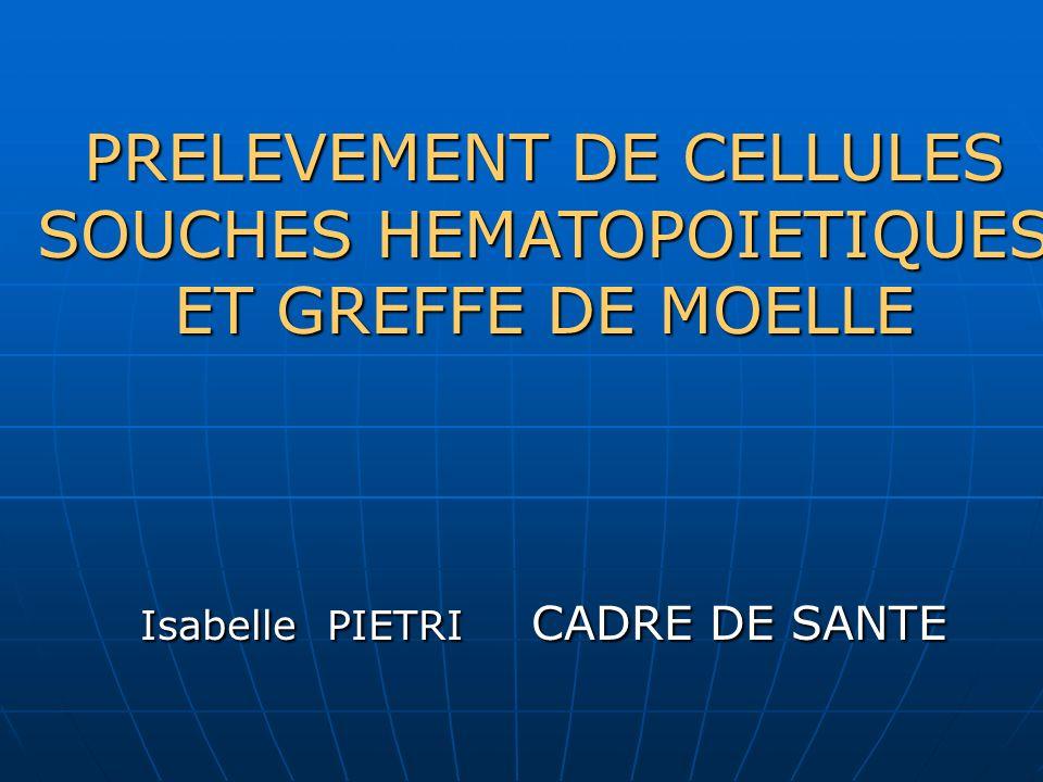 PRELEVEMENT DE CELLULES SOUCHES HEMATOPOIETIQUES ET GREFFE DE MOELLE Isabelle PIETRI CADRE DE SANTE