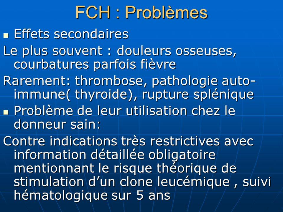 FCH : Problèmes Effets secondaires Effets secondaires Le plus souvent : douleurs osseuses, courbatures parfois fièvre Rarement: thrombose, pathologie