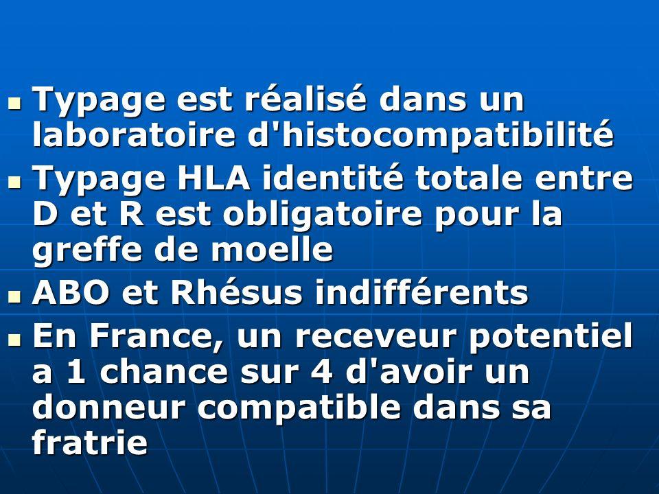 Typage est réalisé dans un laboratoire d'histocompatibilité Typage est réalisé dans un laboratoire d'histocompatibilité Typage HLA identité totale ent