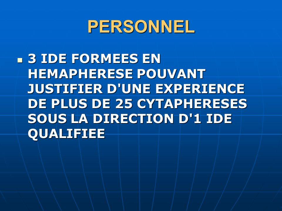 PERSONNEL 3 IDE FORMEES EN HEMAPHERESE POUVANT JUSTIFIER D'UNE EXPERIENCE DE PLUS DE 25 CYTAPHERESES SOUS LA DIRECTION D'1 IDE QUALIFIEE 3 IDE FORMEES