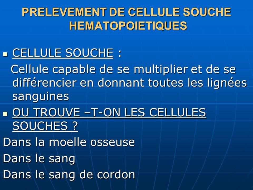 PRELEVEMENT DE CELLULE SOUCHE HEMATOPOIETIQUES CELLULE SOUCHE : CELLULE SOUCHE : Cellule capable de se multiplier et de se différencier en donnant tou