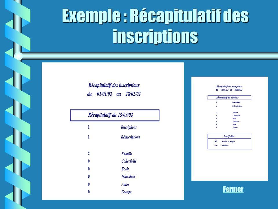 Exemple : Récapitulatif des inscriptions Fermer