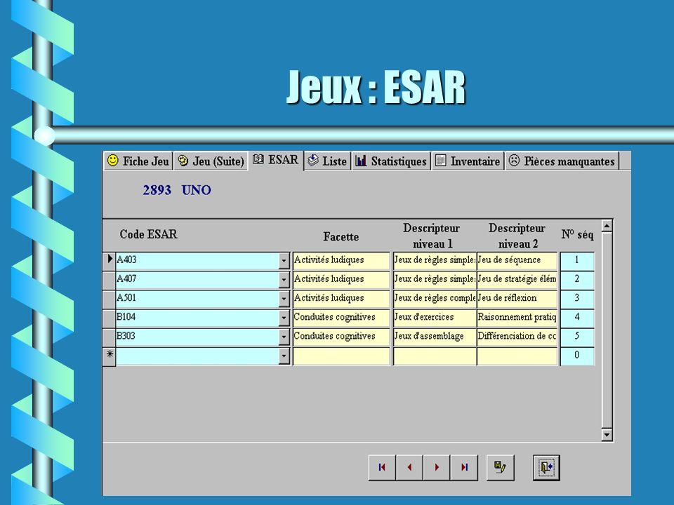 Jeux : ESAR