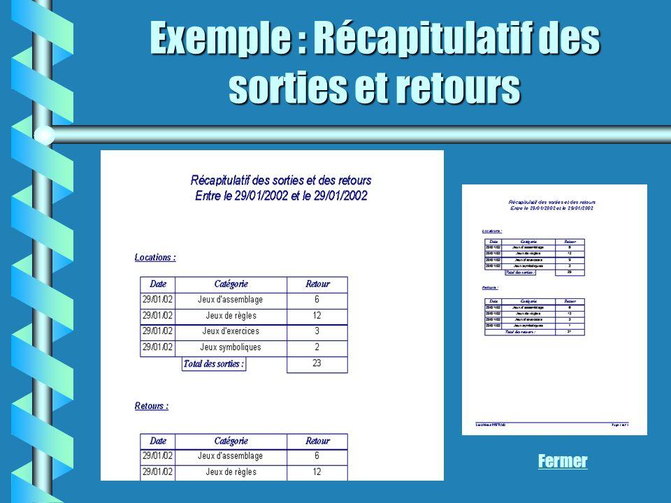 Exemple : Récapitulatif des sorties et retours Fermer