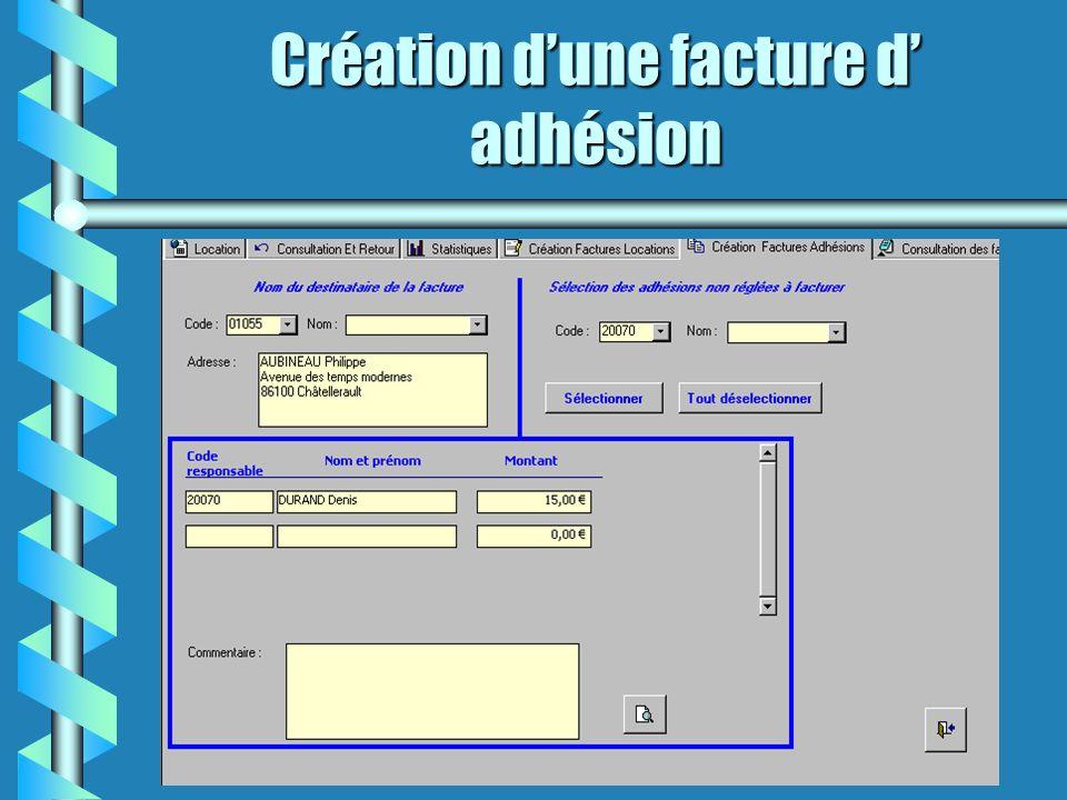 Création dune facture d adhésion