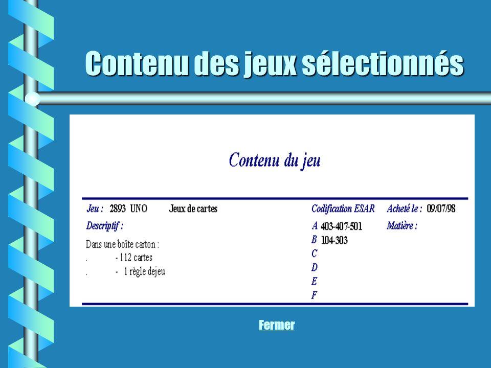 Contenu des jeux sélectionnés Fermer