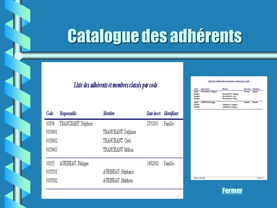 Catalogue des adhérents Fermer