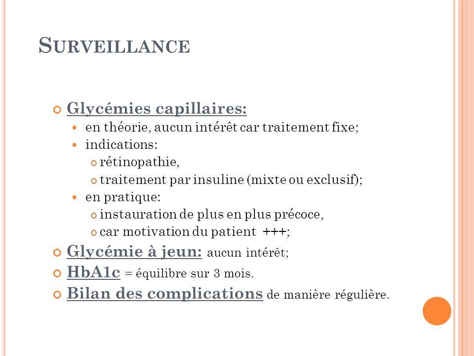 S URVEILLANCE Glycémies capillaires: en théorie, aucun intérêt car traitement fixe; indications: rétinopathie, traitement par insuline (mixte ou exclu