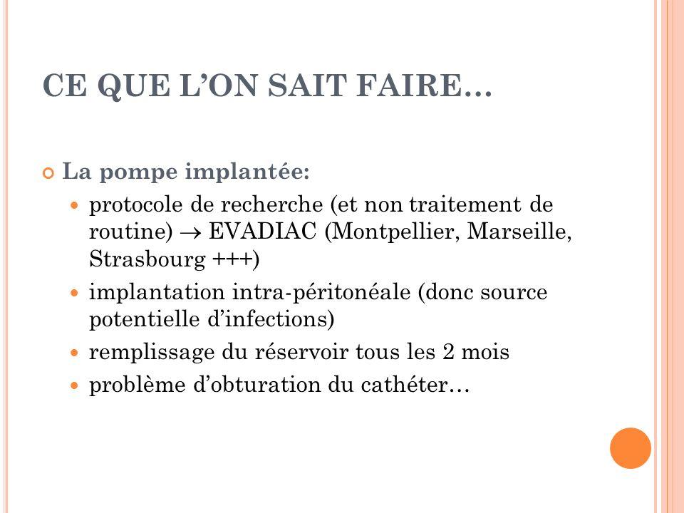 CE QUE LON SAIT FAIRE… La pompe implantée: protocole de recherche (et non traitement de routine) EVADIAC (Montpellier, Marseille, Strasbourg +++) impl