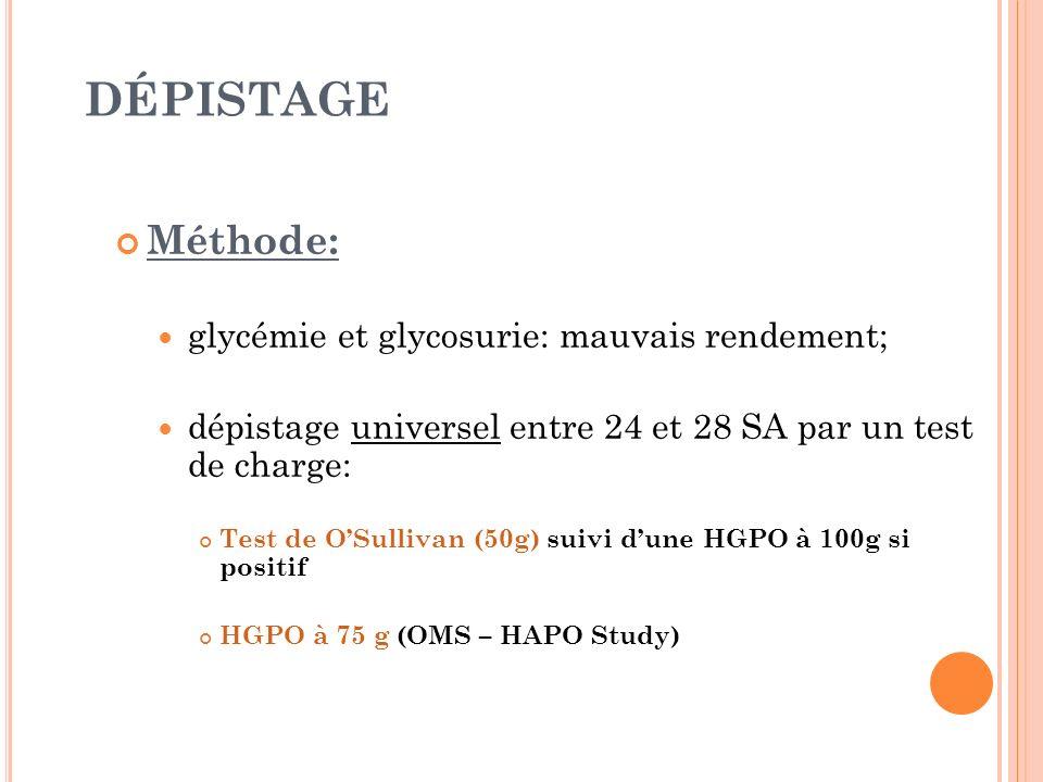 DÉPISTAGE Méthode: glycémie et glycosurie: mauvais rendement; dépistage universel entre 24 et 28 SA par un test de charge: Test de OSullivan (50g) sui