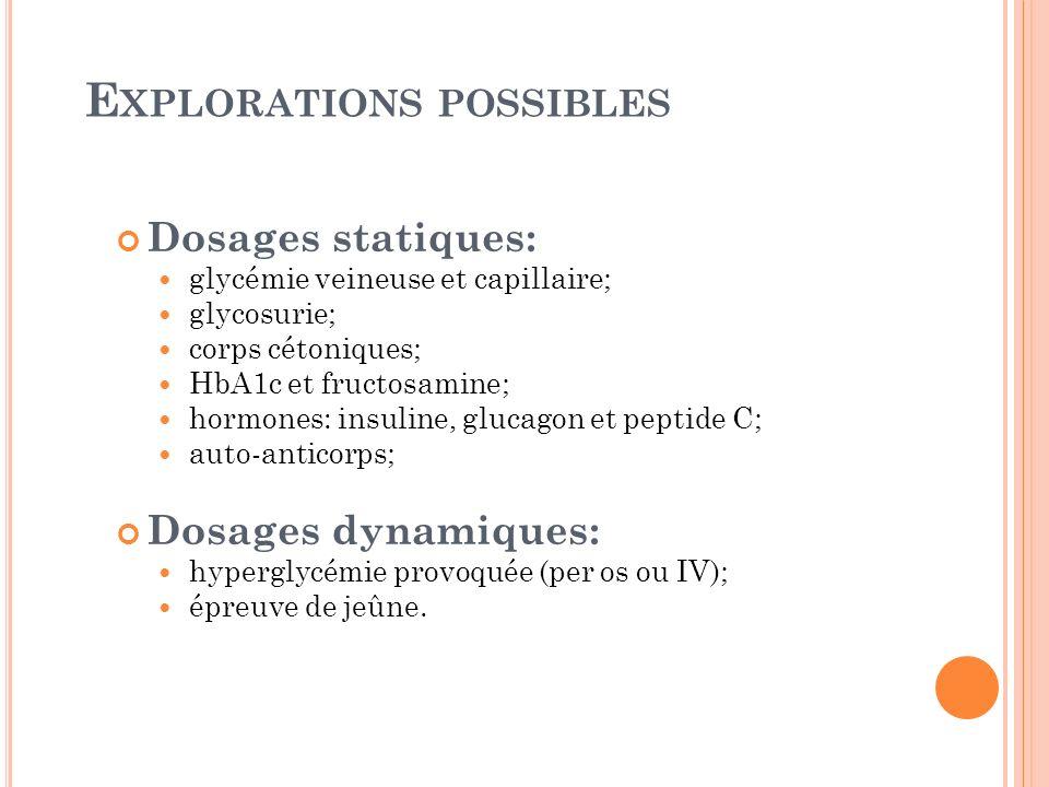 E XPLORATIONS POSSIBLES Dosages statiques: glycémie veineuse et capillaire; glycosurie; corps cétoniques; HbA1c et fructosamine; hormones: insuline, g