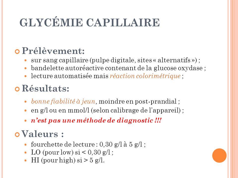 GLYCÉMIE CAPILLAIRE Prélèvement: sur sang capillaire (pulpe digitale, sites « alternatifs ») ; bandelette autoréactive contenant de la glucose oxydase