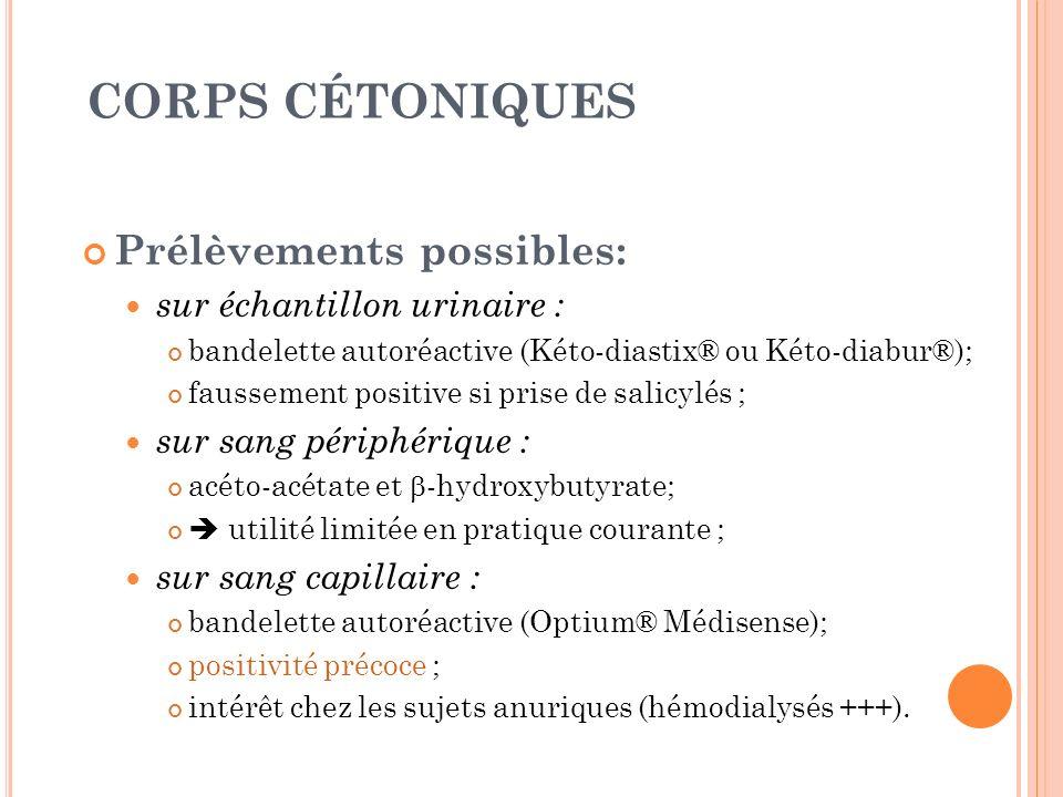 CORPS CÉTONIQUES Prélèvements possibles: sur échantillon urinaire : bandelette autoréactive (Kéto-diastix® ou Kéto-diabur®); faussement positive si pr