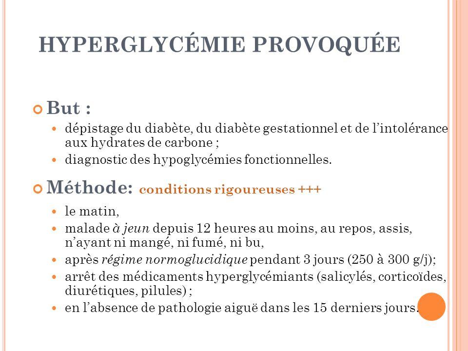 HYPERGLYCÉMIE PROVOQUÉE But : dépistage du diabète, du diabète gestationnel et de lintolérance aux hydrates de carbone ; diagnostic des hypoglycémies