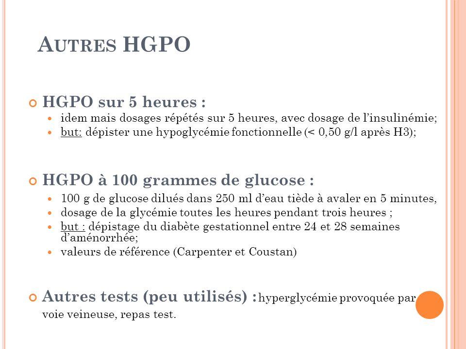 A UTRES HGPO HGPO sur 5 heures : idem mais dosages répétés sur 5 heures, avec dosage de linsulinémie; but: dépister une hypoglycémie fonctionnelle (<