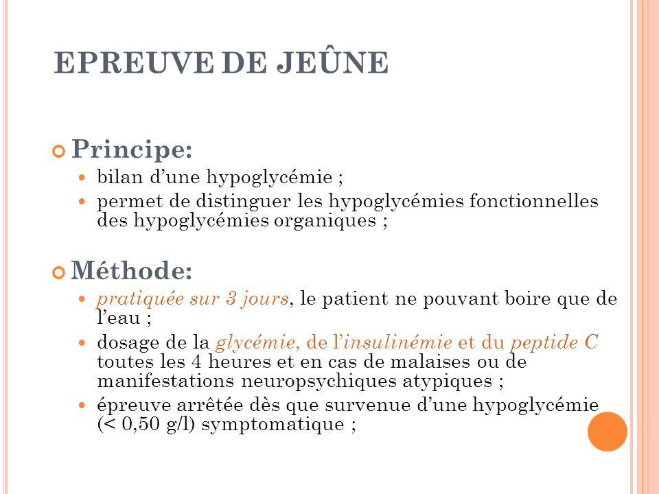 EPREUVE DE JEÛNE Principe: bilan dune hypoglycémie ; permet de distinguer les hypoglycémies fonctionnelles des hypoglycémies organiques ; Méthode: pra