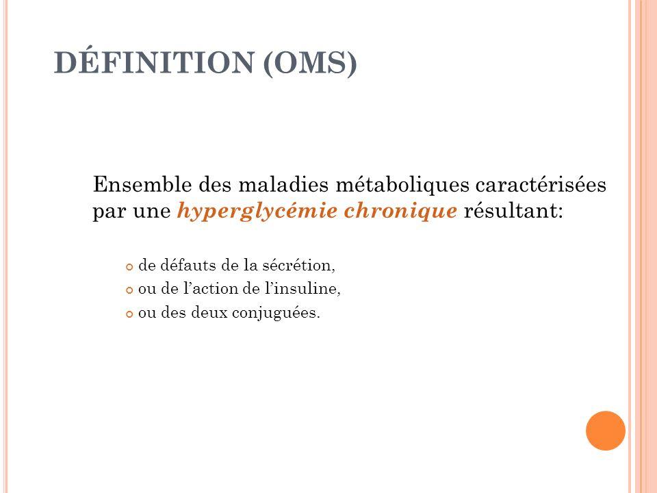 DÉFINITION (OMS) Ensemble des maladies métaboliques caractérisées par une hyperglycémie chronique résultant: de défauts de la sécrétion, ou de laction