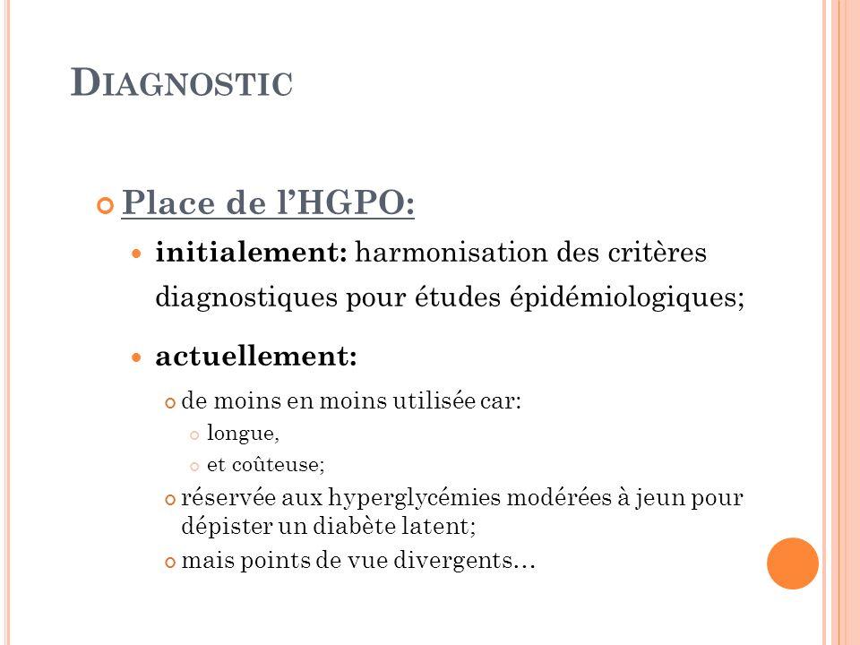 D IAGNOSTIC Place de lHGPO: initialement: harmonisation des critères diagnostiques pour études épidémiologiques; actuellement: de moins en moins utili