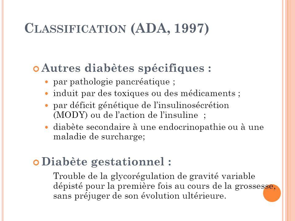 C LASSIFICATION (ADA, 1997) Autres diabètes spécifiques : par pathologie pancréatique ; induit par des toxiques ou des médicaments ; par déficit génét