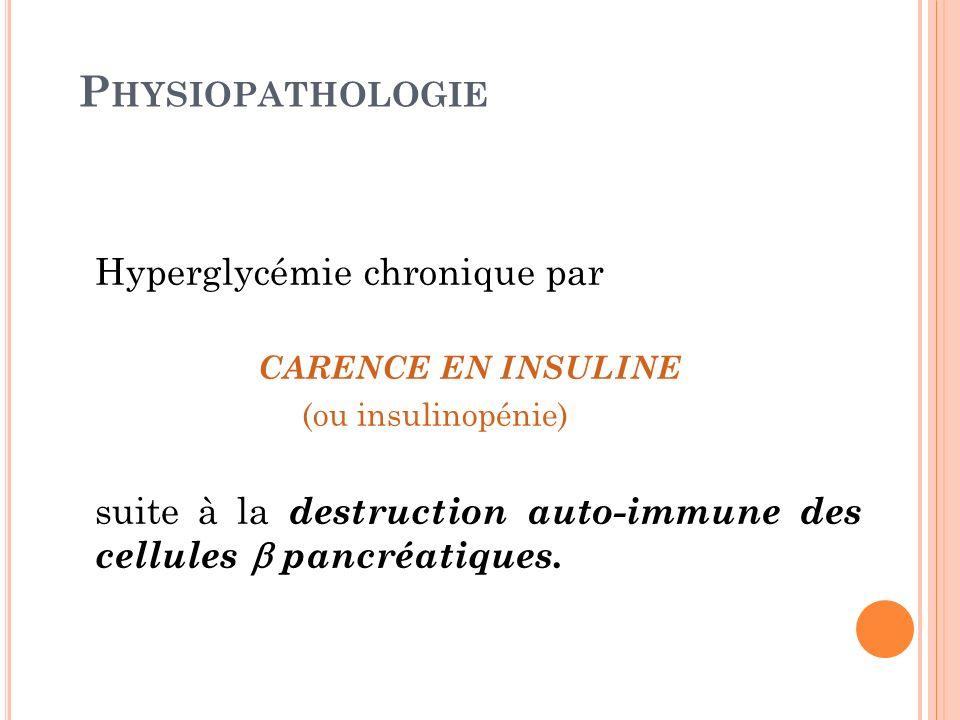 P HYSIOPATHOLOGIE Hyperglycémie chronique par CARENCE EN INSULINE (ou insulinopénie) suite à la destruction auto-immune des cellules pancréatiques.