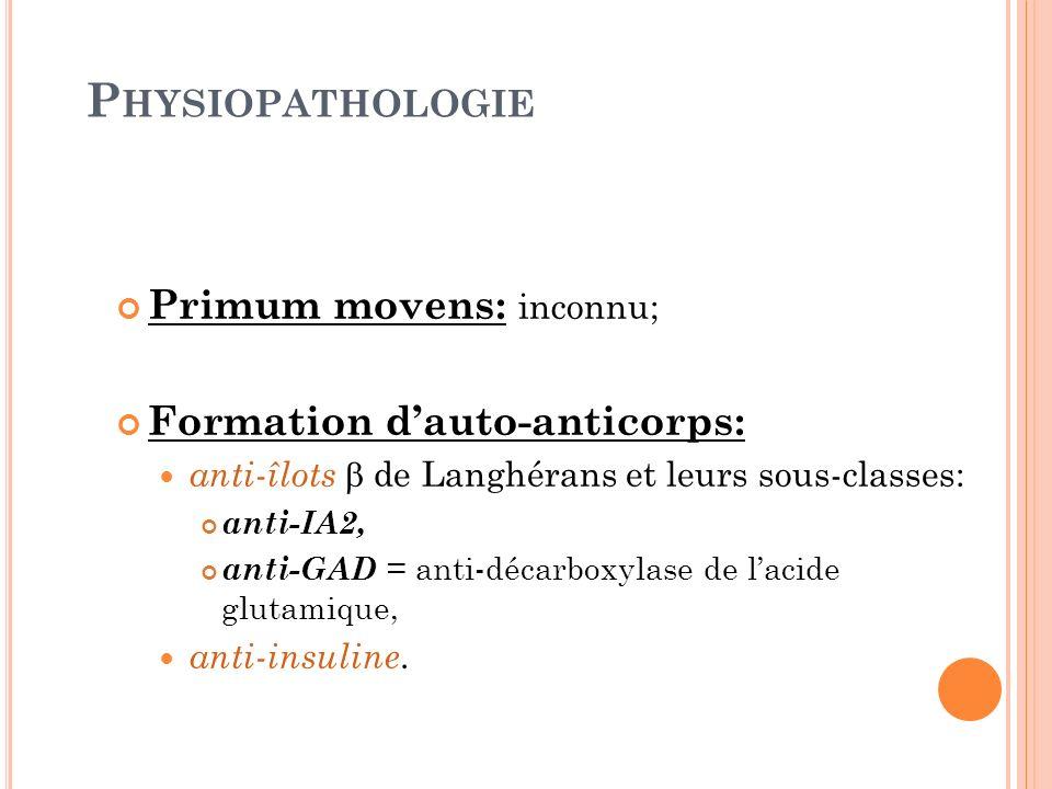 P HYSIOPATHOLOGIE Primum movens: inconnu; Formation dauto-anticorps: anti-îlots de Langhérans et leurs sous-classes: anti-IA2, anti-GAD = anti-décarbo